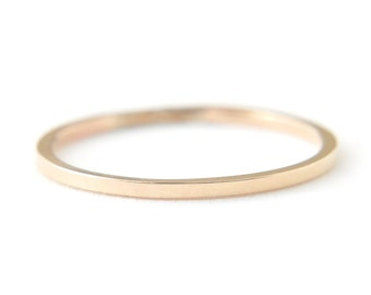 14K Solid Yellow Gold square flat band - simple wedding band - 1mm delicate stacking stackable ring - minimalist jewelry - Nera 1mm 14K