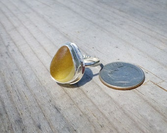 Yellow English Multi Sea Glass Ring Size 6 Sterling Argentium Silver