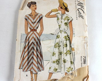 "1940s Sewing Pattern / 1940s Dress Pattern / McCall 7286 / Bust 36"" Waist 30"""