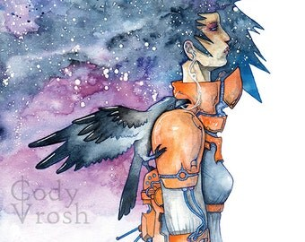 """Science Fiction Art, Space Art, Astronaut Art, Celestial Watercolor - Interstellar Dreams and the Promises of Crows 8.5x11"""" Print"""