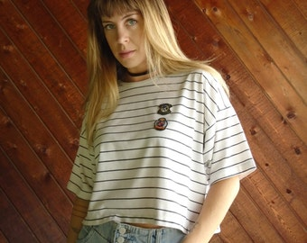 Striped Slouch Crop Tee with Patches - Vintage 80s - M/L