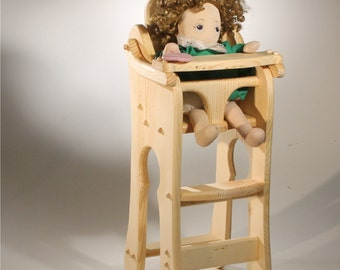 Doll High Chair Solid Wood