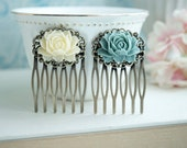 Flower Girl Hair Comb Small Flower Comb Flower Girl Bridesmaids Gift Wedding Comb Dusty Blue Grey Rose Hair Comb Something Blue Ivory Rose