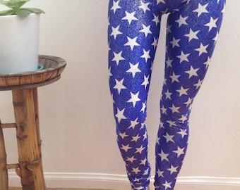 4th of july leggings, 4th of july yoga pants, independence day leggings, star leggings, star pants, usa leggings, usa pants, galaxy leggings