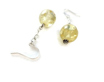 Yellow Drop Earrings Sterling Silver Chain Dangle, Golden Yellow Earrings Resin Glitter with Chain Drop, Resin Earrings Yellow Jewelry Gift