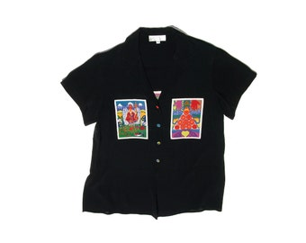 90s new age spiritual batik buddhism buddhist karma third eye black 1990s vintage short sleeve lapel button up top blouse medium M large L