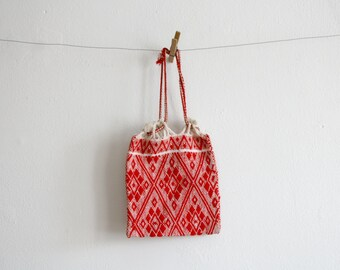 SALE Red Woven Drawstring Bag