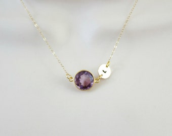 Amethyst Necklace, Birthstone Necklace, Initial Necklace, Personalized Necklace, Minimal Necklace, Sister Necklace, Gold Necklace, Dainty