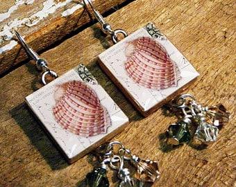 Sea Shell Earrings / Scrabble Tile Earrings / Vintage Style Postcard / Swarovski Crystals / Drop Earrings / Beach Earrings