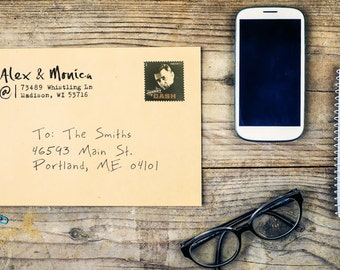 Personalized Address Stamper - Custom Stamp - Handwritten Brush Style - DIY Print - Housewarming - Modern - At Sign  - Home Office Stamp