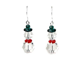 Snowman Earrings, Swarovski Crystal Clear Snowmen Earrings, Red Scarf, Green Hat, Stocking Stuffer, Silver Earrings, Holiday Gift For Women