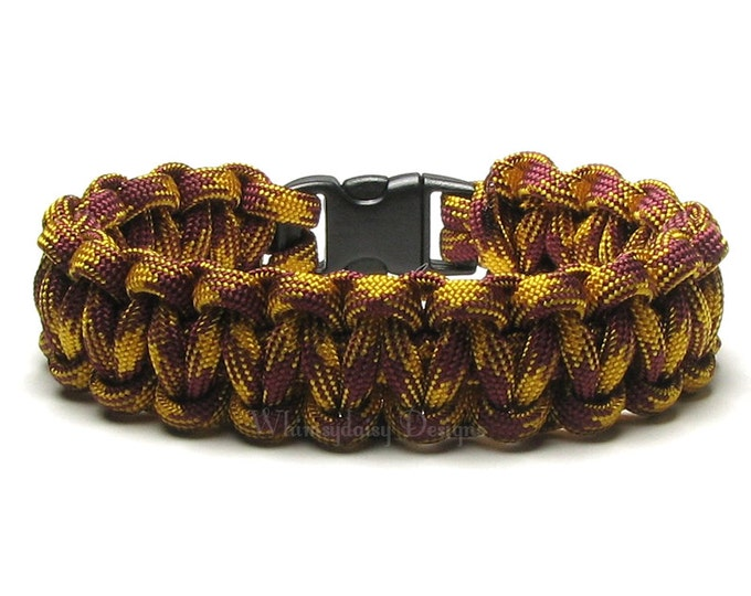 Paracord Bracelet Goldenrod Burgundy Hero Survival Accessory Hunting Outdoorsman Camping Hiker Biker Golden Trendy Jewelry Gifts For Teens
