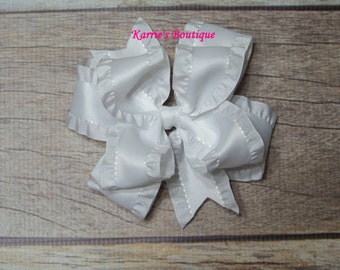 White Double Ruffle Ribbon Bow / Over the Top Hair Bow / Flower Girl / Pageant / Photo Prop / Baptism/ Infant/ Baby/ Girl/ Toddler/ Boutique