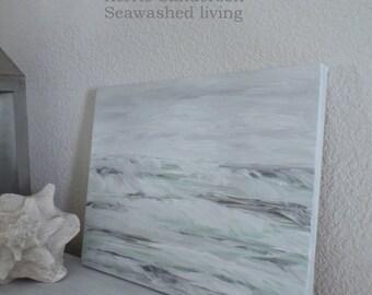 SEAFOAM Seawashed Sea Original Painting  11 x 14  Archival Canvas Coastal Sea Cottage Shabby Chic Beach Seaside Nordic Living Home Decor
