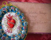 """Stunning 8"""" Late 1800's French SACRED HEART Agnus Dei Relic -  A rare one of a kind treasure for your Valentine"""