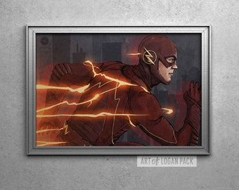 THE FLASH - Barry Allen - Grant Gustin - Original Super Hero Art Poster
