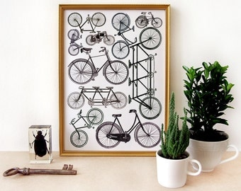 BICYCLE art print - archival art print digital - A4 - antique bicycles engravings - original collage