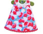 Toddler Gift - Handmade Crochet Floral Collar - Girls Gift - Custom Made - Toddler Cotton Dress - School Photo - Girl Dress Sewing Pattern