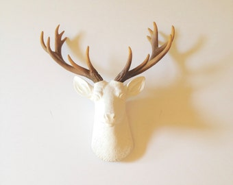 White-Natural SMALL Faux Taxidermy Deer Head wall mount wall hanging / small stag head / woodland nursery white with natural-looking antlers