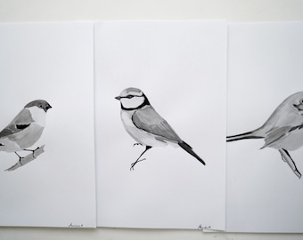 Set of 3 original paintings.  Watercolor on paper. Birds in watercolor. Modern rustic. Modern watercolor.