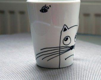 Funny cat mugs Hand painted cat mug cup Hand painted cups Black cat mug Funny Coffee mug cat Gatos Tazas Cat lover gift Funny mug Cat gift