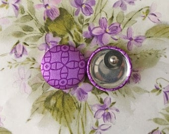 Purple Button Earrings / Geometric / Fabric Covered / Wholesale Jewelry / Gifts for Her / Bridesmaid Gifts / Party Favors / Stud Earrings