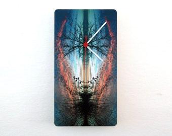 Nature Modern Wall Clock - Minimalist Wall Decor - Original Home Decor - Mix Media Art Photography