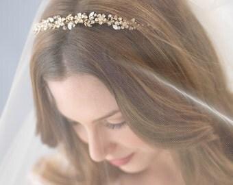 Gold Bridal Headband, Bridal Hair Accessory, Rhinestone Headband, Floral Bridal Headpiece, Gold Wedding Headband, Gold Headpiece ~TI-3137