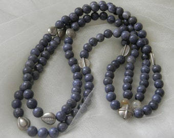 Blue coral  beads necklace w Thai Hill Tribe silver beads , beaded jewelry , long strand/ multi strand necklace , jewelry , unusual silver