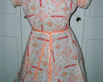 Vintage 1950s/1960s Square Dance/Patio Dress - Orange and White Dress, Plus Size