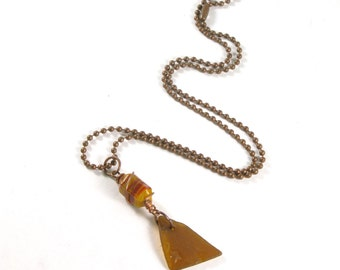 "SALE Rhode Island Brown Sea Glass with an Embossed Star on a Copper Wire Wrap Retro Orange Glass Bead on Antique Copper Ball Chain, 14""-24"""