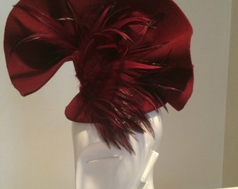Haute Couture Fascinator, Avant Garde, Haute Couture Headpiece, Couture Hat, Burgundy Couture Fascinator