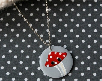 Toadstool Button Necklace