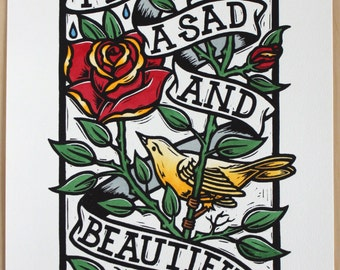 Sad And Beautiful Colour - Hand Coloured Linocut Print, Signed and Numbered Edition