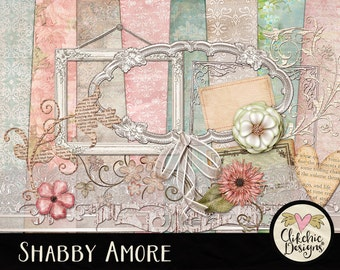 Spring Digital Scrapbook Kit Clip Art - Shabby Amore Digital Papers, Cottage Chic ClipArt & Embellishments