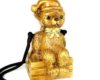 Timmy Woods Purse Wooden Carved Santa Bear Beverly Hills Vintage Christmas Novel Bag