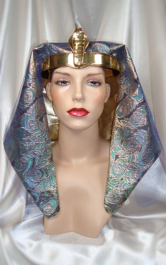 Gold And Blue Pharaoh Headdress King Tut Crown Egyptian