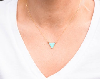 Petite and Tiny Turquoise Triangle Necklace on Delicate Gold Filled Chain