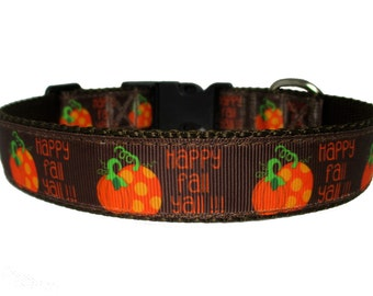 "Fall Dog Collar - Happy Fall Ya'll - 1"" Width Only - Nylon Webbing - Quick Release - Adjustable Sizes"