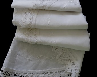 Vintage handmade round tablecloth -- white tablecloth with hand embroidered flowers in white with lace border -- 57 inches / 145 cm