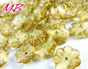 10 pcs Champagn Czech Glass Beads Mix, 14mm Bell and Flower Beads, Old Patina Cup Flower Beads