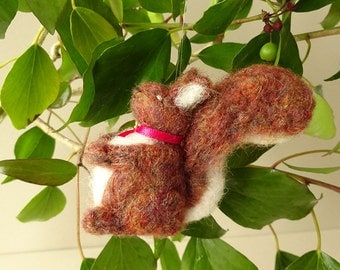 Gift idea - woodland squirrel - felted miniature - needle felt animal - woodland creature miniature - farmhouse decor - luckjudgementgifts