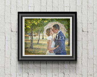 Custom PRINTABLE Wedding Vows/Song Lyrics and Wedding Picture Art Print with Modern Font & Wedding Date