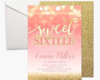 Sweet Sixteen Girl Birthday Party Invitation Pink And Gold Printable Invitation Sweet 16 Birthday Party Invite Sixteen Birthday Gold Bokeh