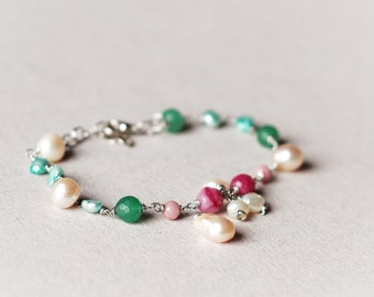 Multicolor wire wrapped natural pearls, rhodonite and jade delicate bracelet, Pink, green, white, boho wedding, bridesmaid, Gift for her