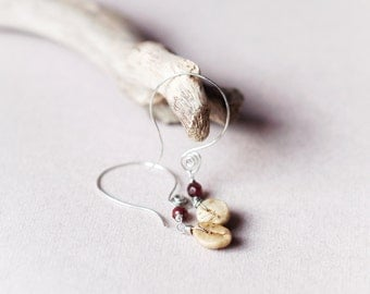 Gift for coffee lover! Delicate green coffee beans and garnet earrings, Hand-crafted hammered earwires, Wire wrapped gemstones & coffee bean