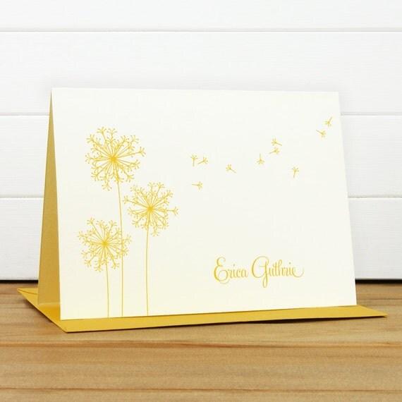 Custom Stationery / Custom Stationary - BREEZE Custom Notecard Set - Dandelion Teacher Thank You
