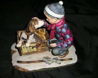 Vintage Norman Rockwell Boy w/Dog for sale Beautiful Nostalgic Statuary Dog lovers Special Figures Mint.