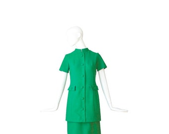 1960s Dress • 60s Designer Green Dress •