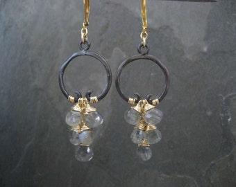 Labradorite earrings, cascading dangle, black and gray, chandelier earrings, mixed metal, labradorite briolettes, statement earrings